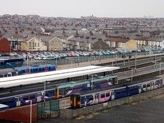 BPN DMU (deltrems) Tags: blackpool north railway rail train station platforms diesel multiple unit dmu fylde coast lancashire northern sprinter pacer transpennine class142 class150 class158 class185 coach bus shearings terraced houses skyline