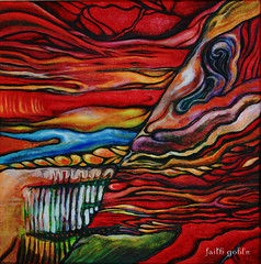 Red World (faith goble) Tags: world original red color art painting artist acrylic poem photographer kentucky ky vivid canvas strata creativecommons poet robertfrost layer writer bowlinggreen fireandice stratification redworld geologictime coloursplosion faithgoble gographix faithgobleart