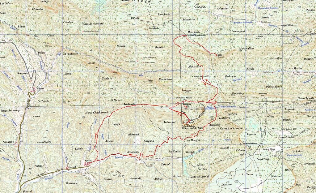 Mapa 25k Arizgaña-Remendía