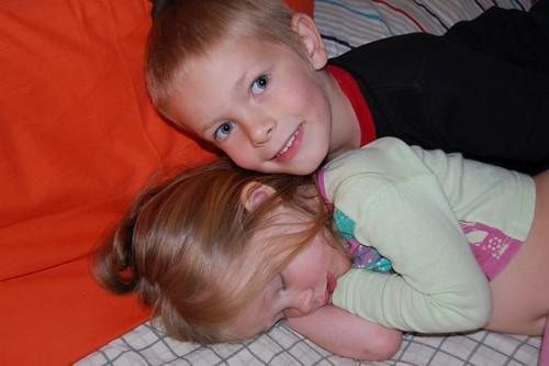 sleepy girl with brother