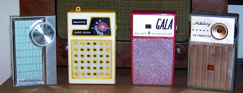 Silvertone, SuperiorSonic, Gala, and Nobility Radios. Photo by alexkerhead on Flickr