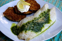 Baked Orange Roughy with Salsa Verde (Spork or Foon?) Tags: fish bread lemon italian eggplant egg homemade garlic eggs seafood oliveoil whitefish parsley oregano yolk baked halibut breaded aioli salsaverde alicewaters roughy theartofsimplefoods
