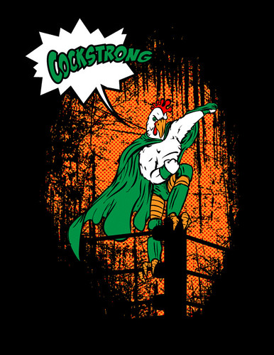 Johnny Cockstrong rooster mascot t shirt graphic