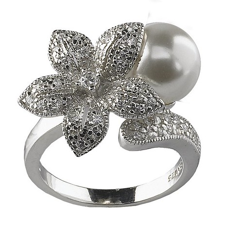 silver flower pearl ring