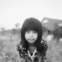 Syuhada in the grass (36910031) (Fadzly @ Shutterhack) Tags: portrait bw white black film girl monochrome grass analog square mono backyard bokeh 11 headshot malaysia analogue superia100 bianconero terengganu mydaughter kualaterengganu my leicar6 syuhada fadzlymubin shutterhack gongbadak fujicolorsuperia100asa negativefilmscan summicronr35mmf20e55