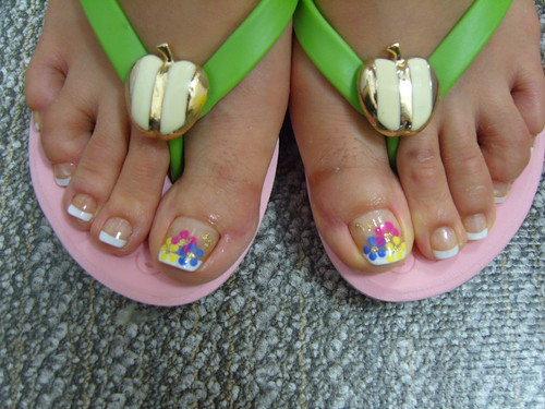 Colorful french toe nails white tips