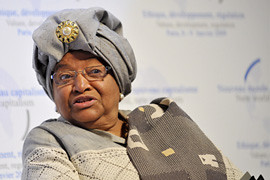 President Ellen Johnson-Sirleaf of the Republic of Liberia in West Africa. She stood for re-election in October 2011 amid allegations of vote fraud by the opposition parties. by Pan-African News Wire File Photos