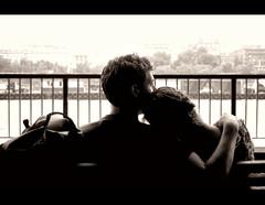 The Couple. (William E Gilbert) Tags: white black slr love boyfriend river bench nikon girlfriend couple married view affection group romance will gilbert lust progression edit marrige d40 afireoutsideme