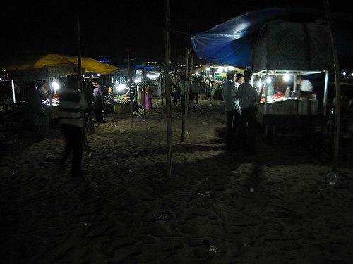 stalls on the beach