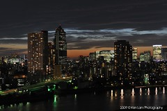 Tokyo dusk.... (Ken.Lam) Tags: park blue sunset tower st japan clouds buildings river lights tokyo twilight dusk illuminations fantasy hour   lukes sumida tsukishima hdr axis typhoon offices  toyosu      sooc