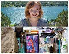 Rachel Diptych (J Trav) Tags: portrait sunglasses austin river bag keys persona diptych texas phone wallet yarn pens batteries memorycard mtbonnel chapstick handsanitizer beautfiul moviestub tridentgum essentialitems homemadebirthdaycard nailgloss pumpkinhair schadoinkle