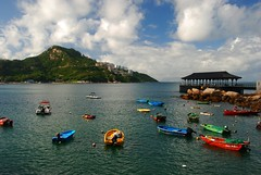 Stanley Scene (Let Ideas Compete) Tags: china city panorama mountain holiday mountains weather clouds boats hongkong bay harbor boat scenery colorful barco barcos harbour cove small panoramic adventure tai chi stanley metropolis metropolitan dory dinghy smallboat greatcity densecity
