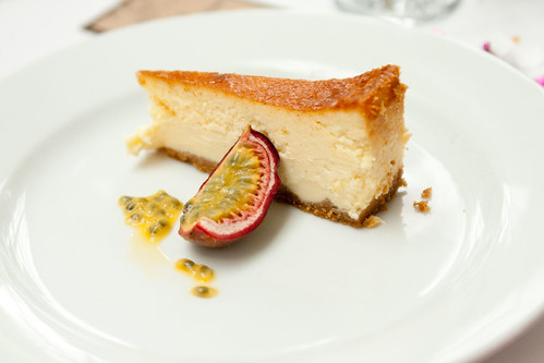 Baked white chocolate cheesecake, passion fruit
