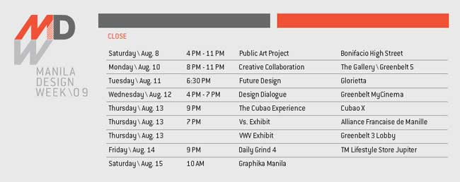 manila design week 2009 schedule