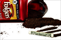 (Ashley Dale) Tags: coffee lines one bill dollar addiction grounds snort folgers