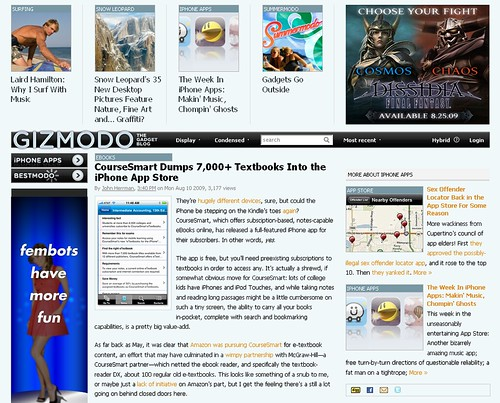 screenshot del blog gizmodo
