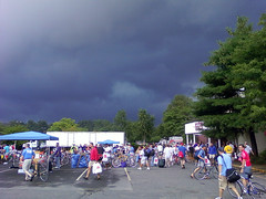 Dark storm clouds bearing down on Friday's rider check-in in Sturbridge.