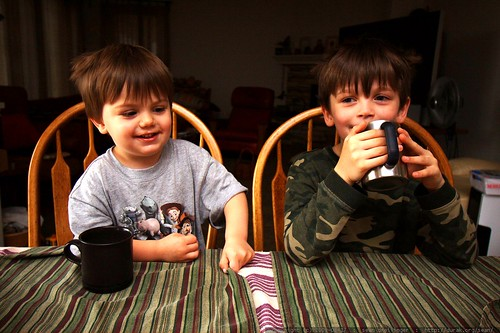brothers having hot chocolate for breakfast - _MG_1526