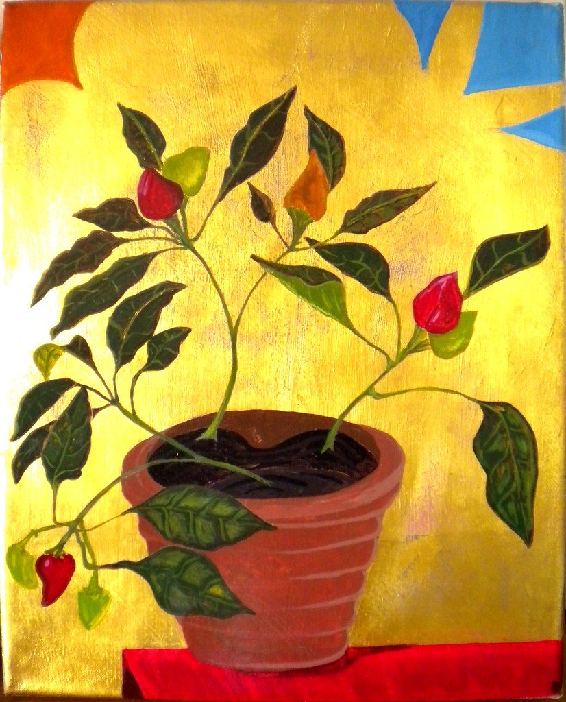 Peppers in Provence, 33x41, Gouache and gold leaf on linen.