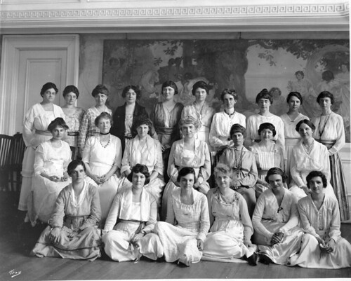 Faculty of the department of home economics about 1918-19. In the first row, from ...
