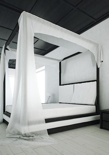 """Mazzali: """"WIND"""" canopy bed / il letto a baldacchino """"WIND"""". Bedroom area"""