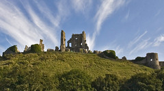 Rear view of Corfe Castle (pixiepic's) Tags: trees sky grass ruins hill dorset corfecastle aplusphoto platinumheartaward