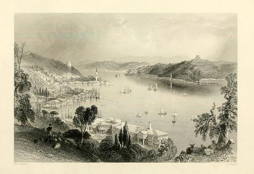 004- El Bosforo desde el palacio de Beshik-Tash-Las bellezas del Bosforo 1838-W.H. Bartlett