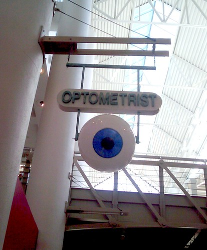 Optometrist sign with a giant eyeball
