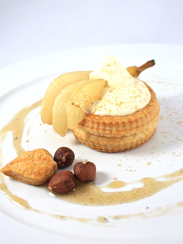 Vol-au-vent with Hazelnut Sabayon and  Spiced Poached Pears