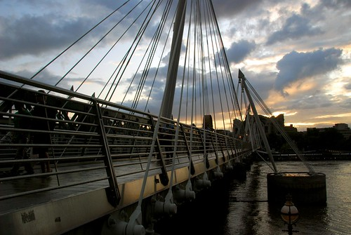 millenium bridge at sunset, london