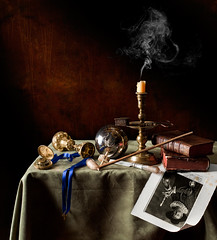 Still Life with Clay Pipe and Zebra (kevsyd) Tags: stilllife candle engraving zebra snuffer claypipe kevinbest dutchstilllife