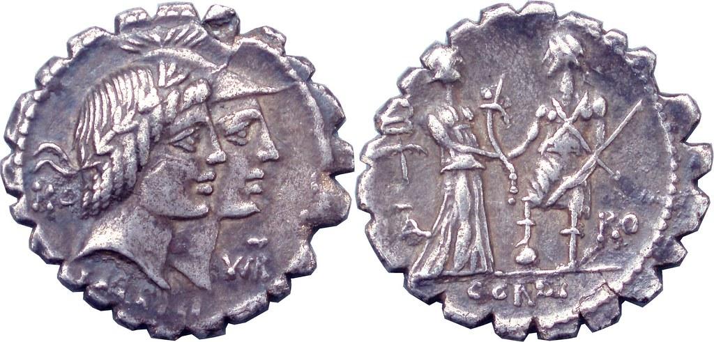 68BC 403-01-09253-37-KALENI CORDI Honos Virtus jugate Italy greets Roma Denarius