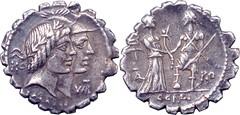 68BC 403/1 #09253-37 KALENI CORDI Honos Virtus jugate Italy greets Roma Denarius