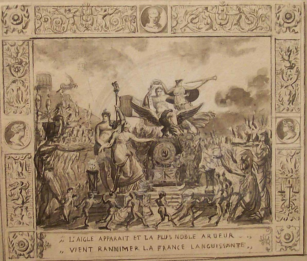 FRENCH SCHOOL - Design for Tapestry: Hommage to Napoleon, c. 1800