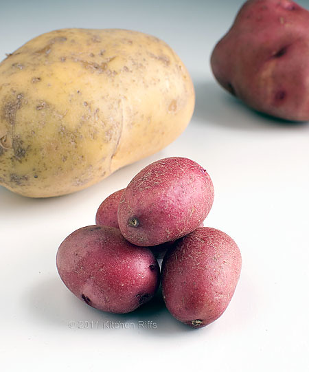 3 different varieties and sizes of waxy potatoes