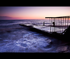 Prohibited. (tsechel) Tags: morning ohio lake water rock sunrise pier gate closed lakeerie greatlakes prohibited 1740f4l avonlake abigfave canon50d krishlikesit 6gnd 9gnd