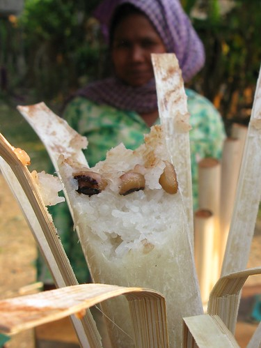 Coconut and bean rice in bamboo street food - Krati, Cambodia