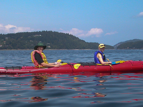 Julie and Chris kayaking off Cedar-by-the-sea
