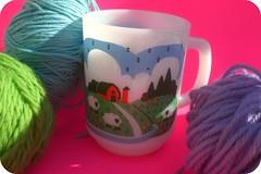 Sheep (8 Skeins of Danger) Tags: pink blue sky green wool cup clouds barn sheep yarn mug lamb 8skeinsofdanger