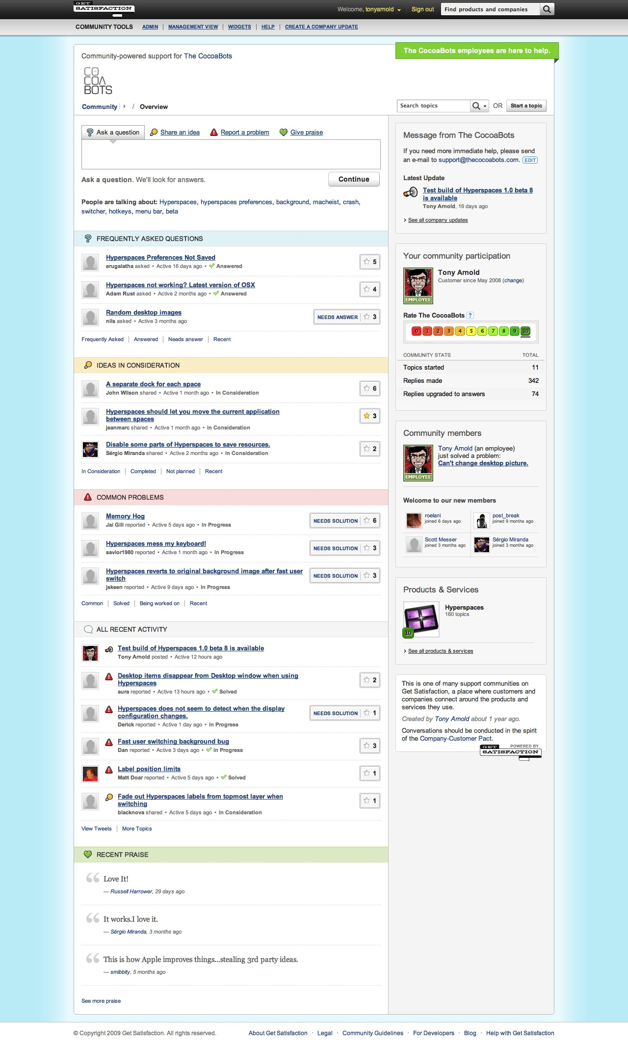 GetSatisfaction: CocoaBots Support Page
