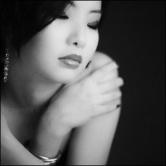 - (*yippie*) Tags: portrait bw girl beauty face lady square 50mm blackwhite pretty dof bokeh f14 brunette squareportrait bokelicious bokehwhore