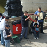 Band of Buskers by the Thames, Golden Jubilee Bridge (Hungerford Bridge), South Bank, London thumbnail