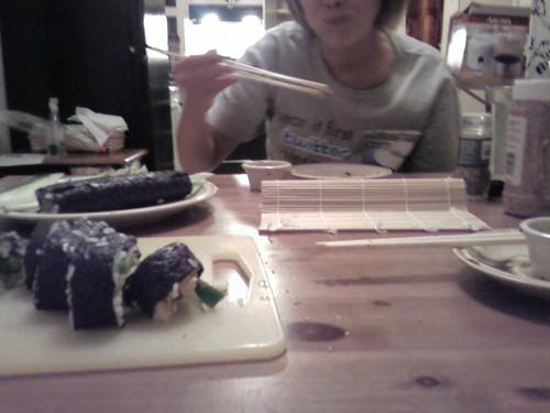 jessica eating homemade sushi