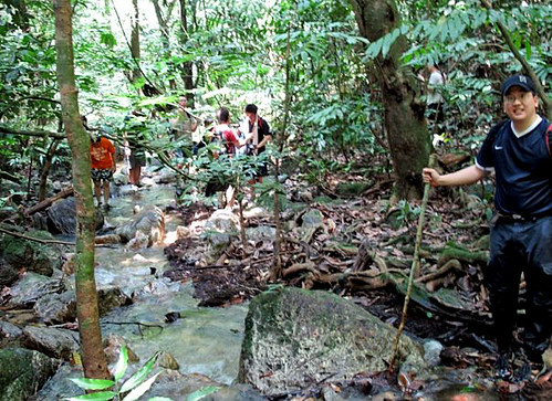 Kemensah Falls - 04 Plodding in the water