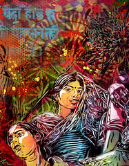 C215 - New Delhi girls (C215) Tags: streetart art french graffiti stencil delhi christian pochoir masacara szablon c215 schablon gumy romanywg piantillas