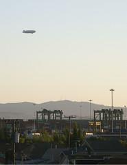 Airship (thamiter) Tags: california west northerncalifornia landscape oakland harbor bart zeppelin sanfranciscobayarea blimp airship eastbay 2009 dirigible gasbag