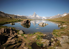 stellisee & matterhorn (Toni_V) Tags: longexposure lake mountains alps nature reflections landscape schweiz switzerland suisse hiking tripod peak zermatt matterhorn alpen svizzera wallis 2009 valais cervin randonne d300 sigma1020mm cervino gnd stellisee capturenx toniv mywinners nd30 dsc1064 gitzogt1540 theperfectphotographer 090813