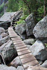 Cool stairs at Avalanche lake (Shady Corner Curve, New York, United States) Photo