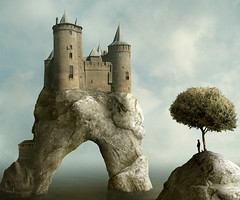 the hideout (Mattijn) Tags: tree castle rock arch surreal medieval hoody photomontage pino photoart mattijn hideout muiderslot magicrealism