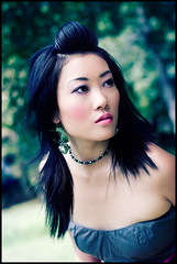 Wait (delinion) Tags: portrait woman girl female asian outside susan pigtails lookingover